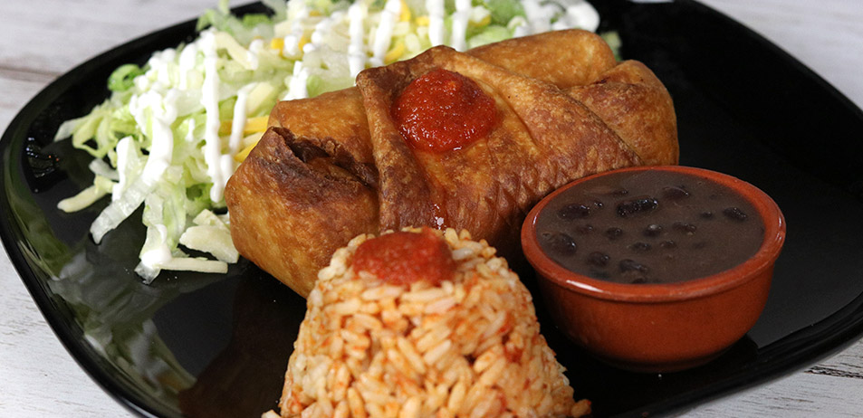 "Chimichanga vegetal <font color=""#009f9a"">8€</font>"