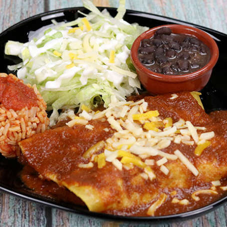 "Enchiladas vegetal <font color=""#009f9a"">8€</font>"